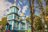Blue wooden orthodoxy church - Ukraine, Europe. — Stock Photo
