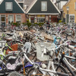 Bicycles on place in Urk town - Netherlands. — Stock Photo