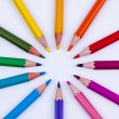 Stock Photo: Colourful crayons on white background.
