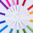 Colourful markers on white background. — 图库照片