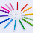 Colourful markers on white background. — Stock Photo