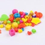 Colourful beads - white background. — Stock Photo