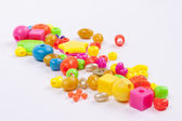 Colourful beads - white background. — Stock Photo