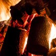 Fire from wood in industrial stove — Stock Photo