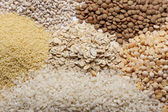 Couscous, rice, pea, grits, oatmeal, lentil. — Stock Photo