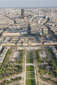 Aerial view from Eiffel Tower on Champ de Mars - Paris. — Stock Photo