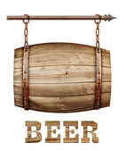 Barrel shaped wooden signboard — Stock Photo
