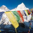 Stockfoto: View of Everest with buddhist prayer flags from kalpatthar