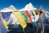 View of Everest with buddhist prayer flags from kala patthar — Stok fotoğraf
