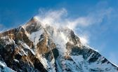 Evening view of Lhotse with windstrom and snow clouds on the top — Photo