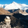 Panoramatic view of Cho Oyu - way to Cho Oyu base camp - Foto Stock