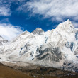 Panoramic view of Mount Everest with beautiful sky and Khumbu Glacier - Khumbu valley - Nepal — Stock Photo