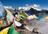 View of everest from gokyo ri with prayer flags - Nepal — Stock Photo