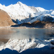 View of Cho Oyu mirroring in lake - Cho Oyu base camp - Everest trek - Nepal — Stock Photo