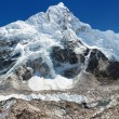 Panoramic view of Everest, Nuptse, glacier and ice-fall khumbu from everest b.c.  — Stock Photo