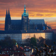 Royalty-Free Stock Photo: Colorful Prague gothic Castle (prazsky hrad) above the River Vltava in the morning, Czech Republic