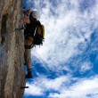 Stock Photo: Alpinist on viferrator klettersteig - extreme sport in Austrior Italy