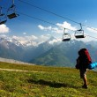 Stock Photo: View from Kitzbuheler Alpen to Hohe Tauern with chairlift
