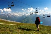 View from Kitzbuheler Alpen to Hohe Tauern with chairlift — 图库照片
