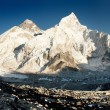 Stock Photo: View of Everest and Nuptse from KalPatthar
