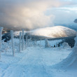 Stock Photo: Wintry ski trail on Jeseniky mountain - Czech Republic