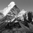 Black and white view of Ama Dablam - way to Everest base camp - Nepal - Stock Photo