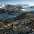 Khumbu valley from Kala Patthar - way to mt Everest base camp — Stock Photo