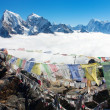 View from Gokyo Ri to Arakam Tse, Cholatse, Tabuche Peak, Thamserku and Kangtega with prayer flags - trek to Everest base camp - Nepal — Stock Photo