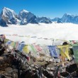 View from Gokyo Ri to Arakam Tse, Cholatse, Tabuche Peak, Thamserku and Kangtega with prayer flags - trek to Everest base camp - Nepal - Stock Photo