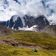 Panoramic view of savlo rock face - altai range - mountains russia  — Stock Photo