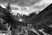 Black and white panoramic view of savlo rock face - altai range - mountains russia — Stock Photo