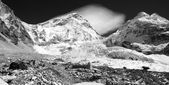 Black and white view of Mt Everest base camp — Stock Photo