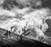 View of Everest and Nuptse from Kala Patthar with — Stock Photo