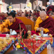 Stock Photo: Nepal, Kathmandu, Boudhanath stup-17th of December 2013: meditation of TibetBuddhist Monks during festival