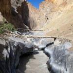 Canyon with bridge - view from Zanskar trek - Ladakh - Jamu and Kashmir - India — Stock Photo #40313119