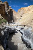 Canyon with bridge - view from Zanskar trek - Ladakh - Jamu and Kashmir - India — Stock Photo