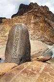 Mani wall and stone with buddhist symbols — Photo