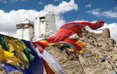 Namgyal Tsemo Gompa with prayer flags - Leh - Ladakh - Jammu and Kashmir - India — Stock Photo