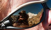 Photographer rereflecting on glasses — Stock Photo