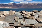 Mani wall and Tso Moriri lake - Rupshu valley - Jammu and Kashmir - Ladakh - india — Stock Photo
