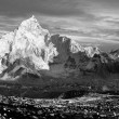 Evening black and white panoramic view of Everest and Nuptse from Kala Patthar - trekking to Everest base camp - Nepal — Stock Photo