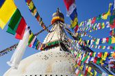 Boudnath stupa in Kathmandu with prayer flags - Nepal — Photo