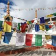 Stock Photo: Prayer flags with stupas - Kunzum Lpass - Himachal Pradesh - India