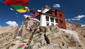 Namgyal Tsemo Gompa with prayer flags - Leh - Ladakh - Jammu and Kashmir - India — Stock Photo