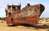 在 moynaq,穆伊纳克或 moynoq-咸海或咸海湖-乌兹别克斯坦-亚洲周围的沙漠的船 — 图库照片