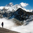 View of Everest from Gokyo with tourist on the way to Everest base camp - Nepal — Stock Photo #44839677