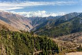 Lower Dolpo - landscape scenery around Dunai, Juphal villages and Dhaulagiri himal from Balangra Lagna pass - western Nepal — Stock Photo