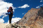 Silhouette of tourist on mountain - Indian Himalayas - India — Stock Photo