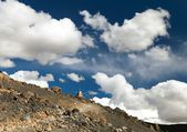 Stupa on hill between cloud - Zanskar trek - Ladakh - India — Stock Photo