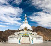 Tall Shanti Stupa near Leh - Jammu and Kashmir - Ladakh - India — Stock Photo